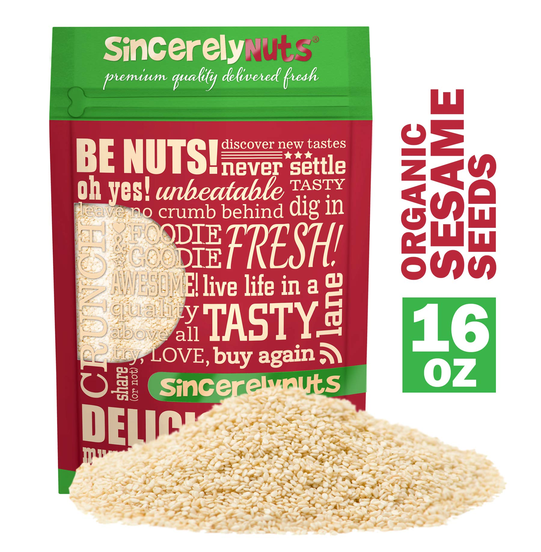 Sincerely Nuts Hulled Organic Sesame Seeds (1 lb Bag)- Nature's Super Seed | Rich Flavor Profile Perfect for Cooking | Raw, Gluten Free, Vegan & Kosher | All Natural Plant Based Protein & Healthy Fats