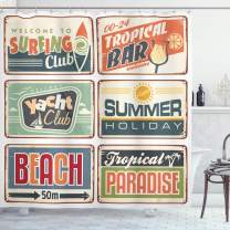 """Ambesonne Retro Shower Curtain, Summer Holiday Vintage Camping Beach Sign Boards in Old Style Faint Colors Art Print, Cloth Fabric Bathroom Decor Set with Hooks, 70"""" Long, Pastel Cream"""