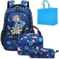 School Backpacks Boys Space Astronaut Backpack with Lunch Bag and Pencil Case Kid Backpacks for Boys 3 in 1 School Bag for Elementary Preschool (Space Blue Set)