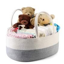 Arkmiido Baby Diaper Caddy Organizer, Rope Nursery Storage Bin with Removable Insert,Newborn Registry Must Haves Baby Shower Gift Basket