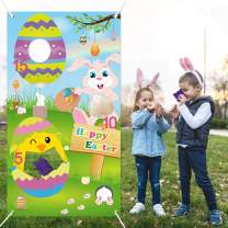 Easter Toss Game Outdoor - Funny Bunny Egg Toss Game Easter with 3 Bean Bag - Spring Easter Indoor Outdoor Games for Kids and Adults - Easter Family School Party Supplies - Easter Decorations