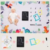 Dinosaur Milestone Blanket for Newborn Infants Shower Gift Soft Flannel Fleece Dinosaur Baby Monthly Milestone Blanket Include Two Frames +Blackboard Markers