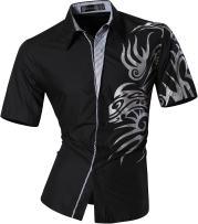 Sportrendy Men's Slim Short Sleeve Casual Button Down Dress Shirt JZS058 Black M