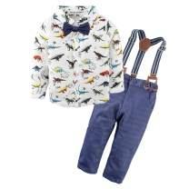 BIG ELEPHANT 2 Pieces Baby Boys Long Sleeve Dresses Shirt Overalls Set