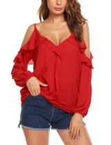 UNibelle Women's Off Shoulder Top Ruffle Sleeve Spaghetti Strap Blouse Tops Shirts