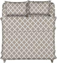 Lux Decor Collection Bed Sheet Set - Brushed Microfiber 1800 Bedding - Wrinkle, Stain and Fade Resistant - Hypoallergenic - 4 Piece (Full, Quatrefoil Taupe)