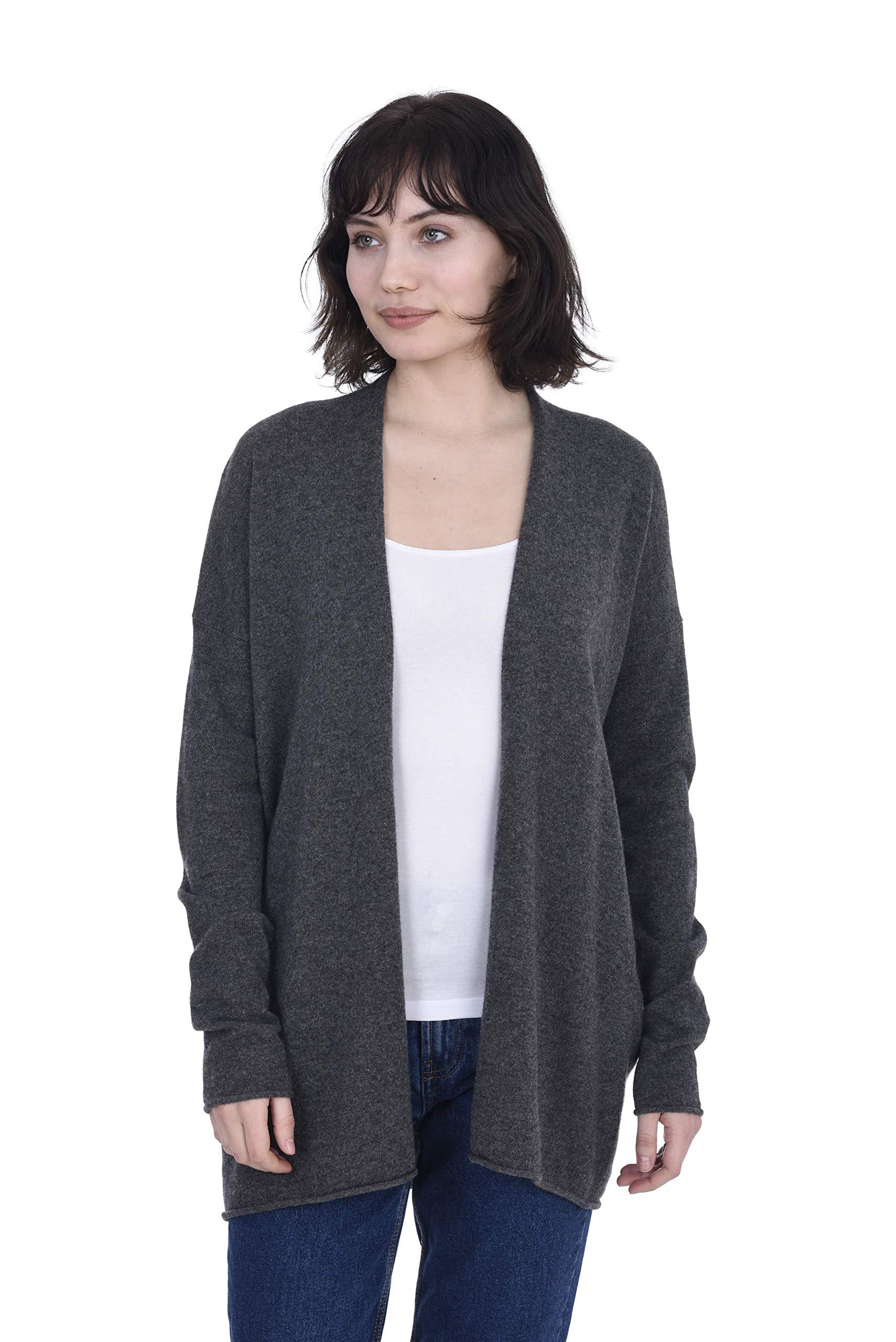 Cashmeren Lightweight Open Front Cardigan 100% Pure Cashmere Long Sleeve Sweater for Women