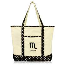 DALIX Zodiac Sign Shopping Tote Bag Black Star Horoscope Gifts - Scorpio