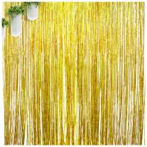 Gold Party Decorations Foil Fringe Curtains Photo Backdrop for Birthday Jungle Retirement Graduation Wedding Bechelor Baby Shower Party Supplies Decorations 2 Pack