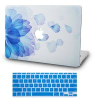 """KECC Laptop Case for MacBook Air 13"""" w/Keyboard Cover Plastic Hard Shell Case A1466/A1369 2 in 1 Bundle (Blue Flower)"""