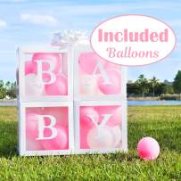Baby Shower Boxes for Party Decorations Girl 24 Balloon Included (Blue and White) Transparent Boxes with Letter, BABY Blocks Design for Girls Bridal Showers Birthday Party Gender Reveal Backdrop