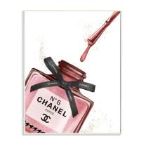 Stupell Industries Makeup Nail Polish Brush Drip Pink Fashion, Design by Artist Ziwei Li Wall Art, 13 x 19, Wood Plaque