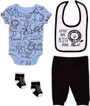 Mini B. by Baby Starters 4-Piece Layette Set with a Lap Shoulder Bodysuit, Pull-on Pants, 2 ply Cloth Bib and Coordinating Pair of Socks (Blue/Black, Little Guy Big Roar, 6-9M)