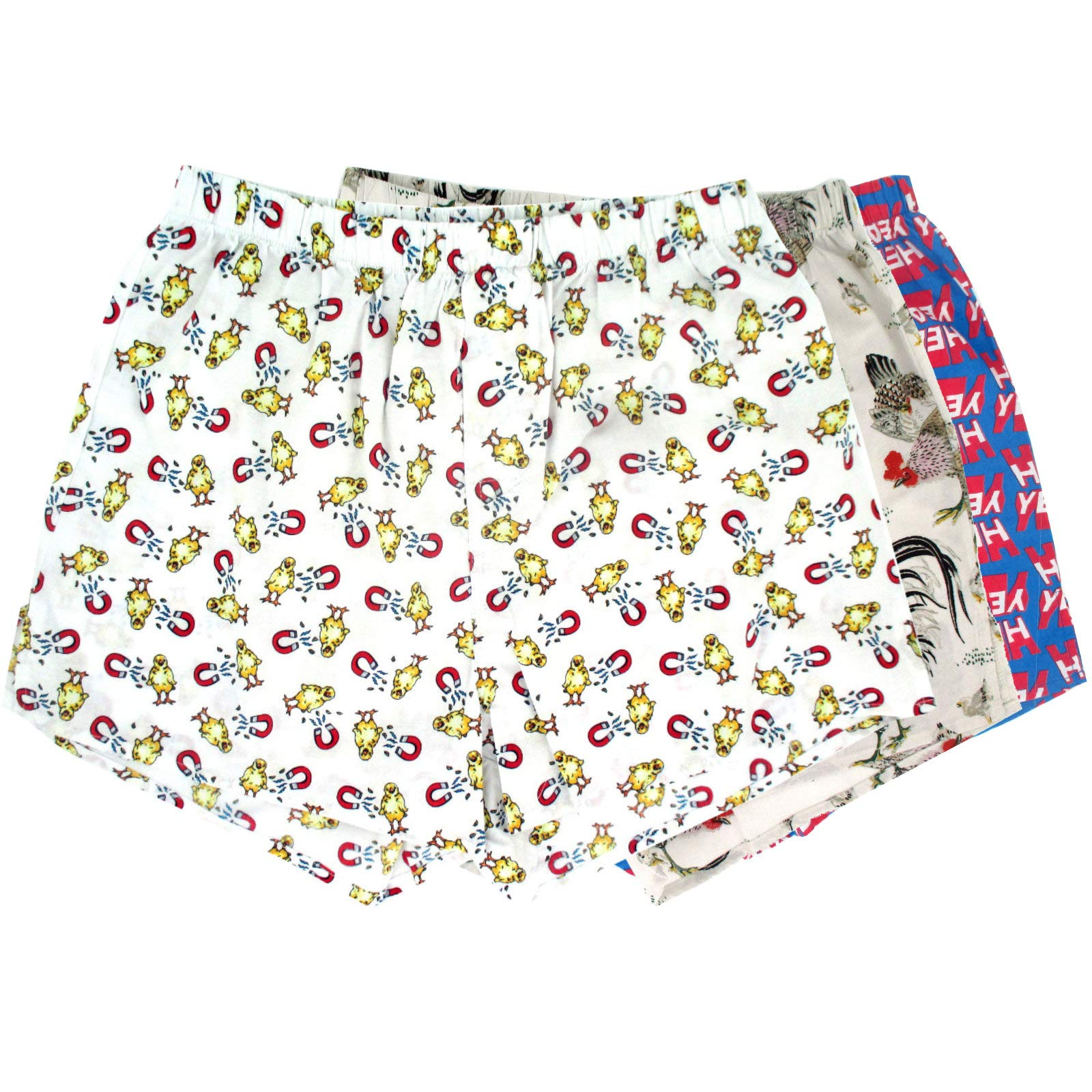 ROCK ATOLL Men's Chick Magnet Chicken Rooster Hell Yeah Print Boxer Shorts 3-Pack