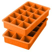 Tovolo Perfect Ice Mold Freezer Tray of 1.25-Inch Cubes for Whiskey, Bourbon, Spirits & Liquor, BPA-Free Silicone, Fade Resistant, Set of 2, Orange Peel