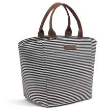 LOKASS Lunch Bag Tote Bag Lunch Box Insulated Lunch Holder Cooler Bag For Women/Girls/Working -Black+White Strip