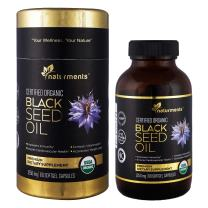 Black Cumin Seed Oil Capsules: Organic, Unrefined, Cold Pressed, Extra Virgin Nigella Sativa Premium Dietary Supplement - Pure, Non GMO, Kosher, Halal Kalonji Oil - Softgels (1250 mg) Maximum Strength