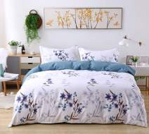 Candid Bedding Duvet Cover Set Line Printed 3 Piece Duvet Cover Reversible 2 Pillow Shams Ultra Soft with Zipper Closure (Twin, 4)
