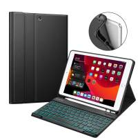 """Fintie Keyboard Case for New iPad 7th Generation 10.2 Inch 2019, Soft TPU Back Cover with Pencil Holder, Magnetically Detachable Wireless Bluetooth Keyboard, 7 Color Backlight for iPad 10.2"""", Black"""