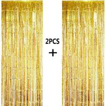 ONUPGO 2 Pack 3.28 ft x 9.8 ft Gold Foil Curtains Metallic Tinsel Fringe Curtain Photo Booth Props Backdrop Curtain Perfect for Birthday Wedding Baby Shower Christmas Holiday Party Decorations