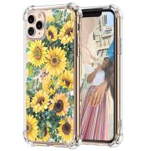 """Hepix iPhone 11 Pro Case Sunflowers 11 Pro Cases Floral Clear, Vivid Yellow Flowers Pattern Soft Flexible TPU Frame with Protective Bumpers Anti-Scratch Shock Absorbing for iPhone 11 Pro (5.8"""") 2019"""