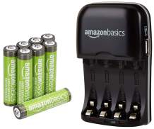 Amazon Basics AAA High-Capacity Rechargeable Batteries (8-Pack) and Ni-MH AA & AAA Battery Charger With USB Port Set