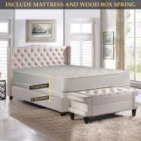 Tight top Innerspring Mattress And 4-Inch Wood Box Spring/Foundation Set