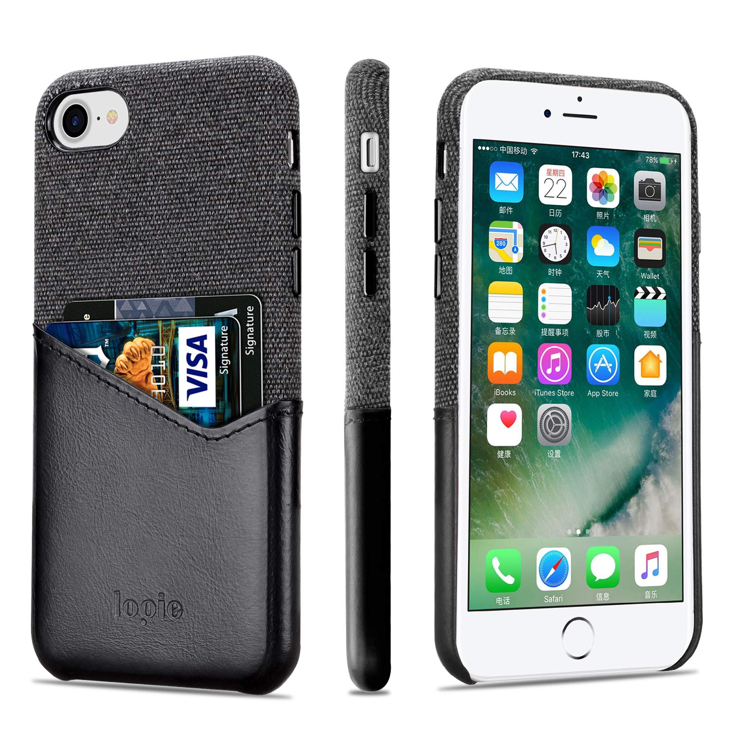 Lopie [Sea Island Cotton Series] Slim Card Case Compatible for iPhone 7 Plus and iPhone 8 Plus, Fabric Protection Cover with Leather Card Holder Slot Design, Black