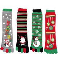 Faleto Womens Christmas Holiday Crew Socks Five Toes Stretchy Christmas Socks Warm Winter Casual Socks