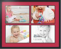 ArtToFrames Collage Photo Frame Double Mat with 4 - 12x16 Openings and Satin Black Frame