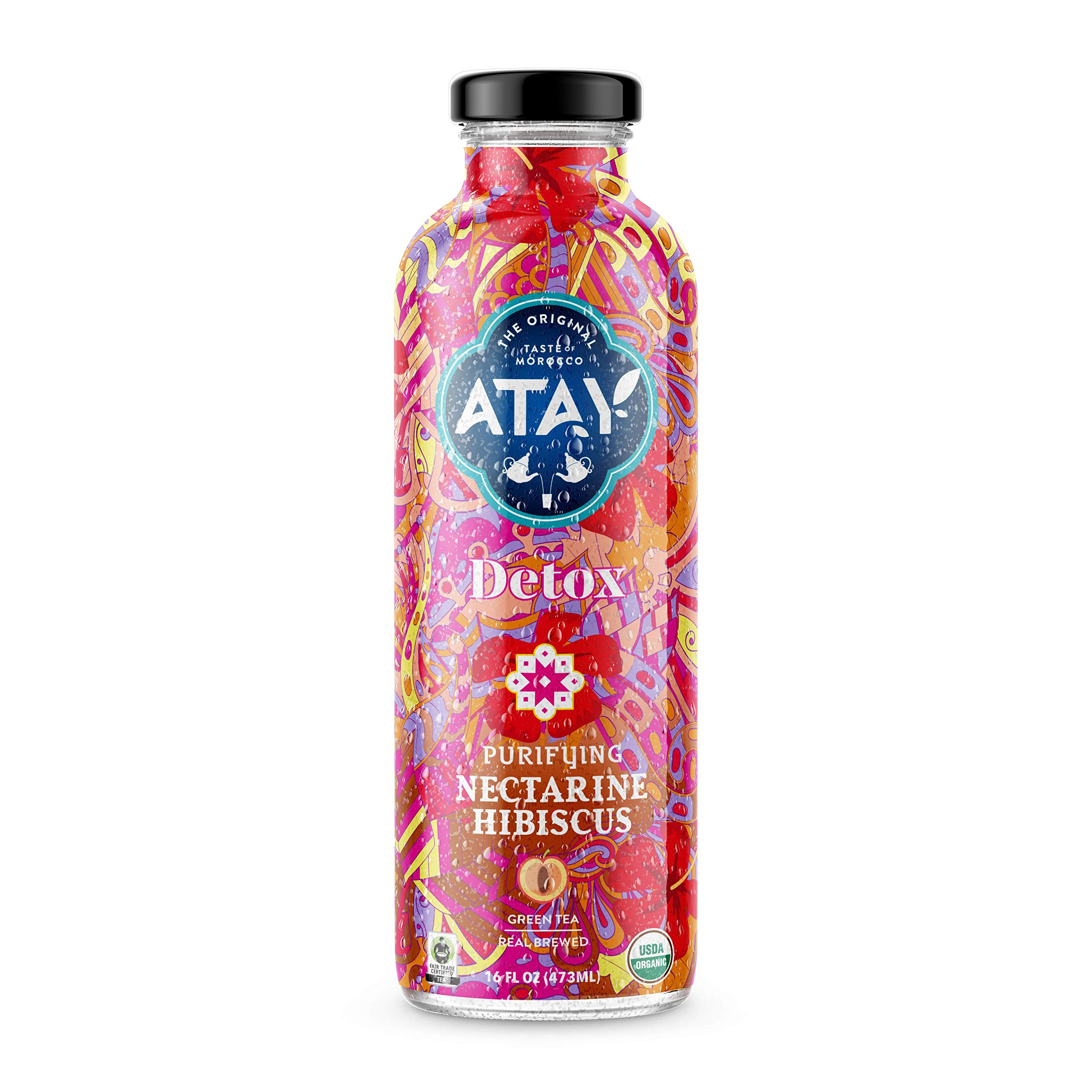 ATAY Moroccan Organic Nectarine Hibiscus Iced Tea - Made With Organic Pure Green Tea And All-Natural Organic Stevia Leaf Extract For A Delicious and Subtle Sweet Flavor - 16 Oz, 8 Pack