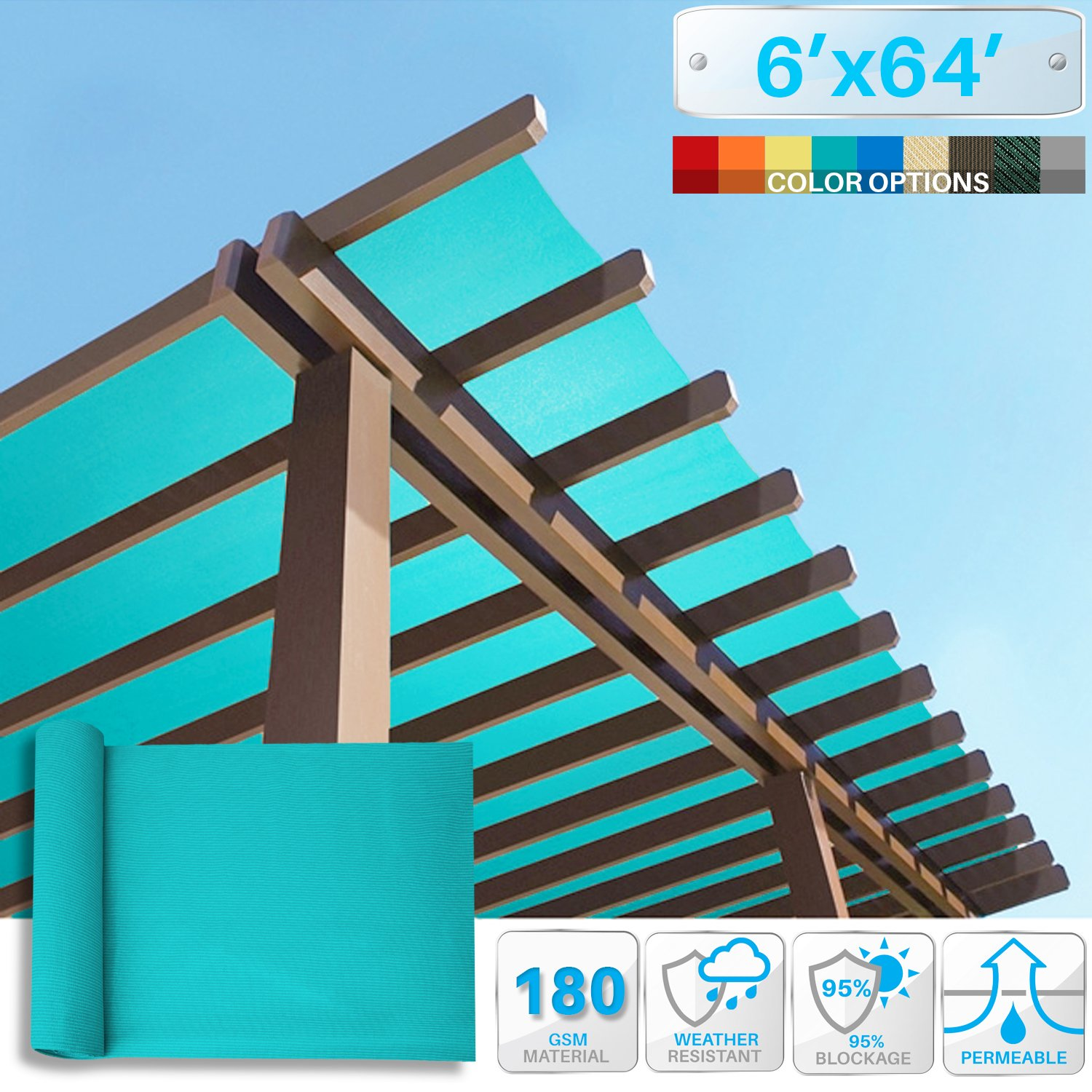 Patio Paradise 6' x 64' Sunblock Shade Cloth Roll,Turquoise Green Sun Shade Fabric 95% UV Resistant Mesh Netting Cover for Outdoor,Backyard,Plant,Greenhouse,Barn