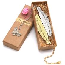 2 Pack Bookmarks Metal, Feather Bookmarks with Pendant, Gifts for Adults and Kids,Perfect Kids Office School Reading and Gifts and Collections(Gold and Silver Feather)