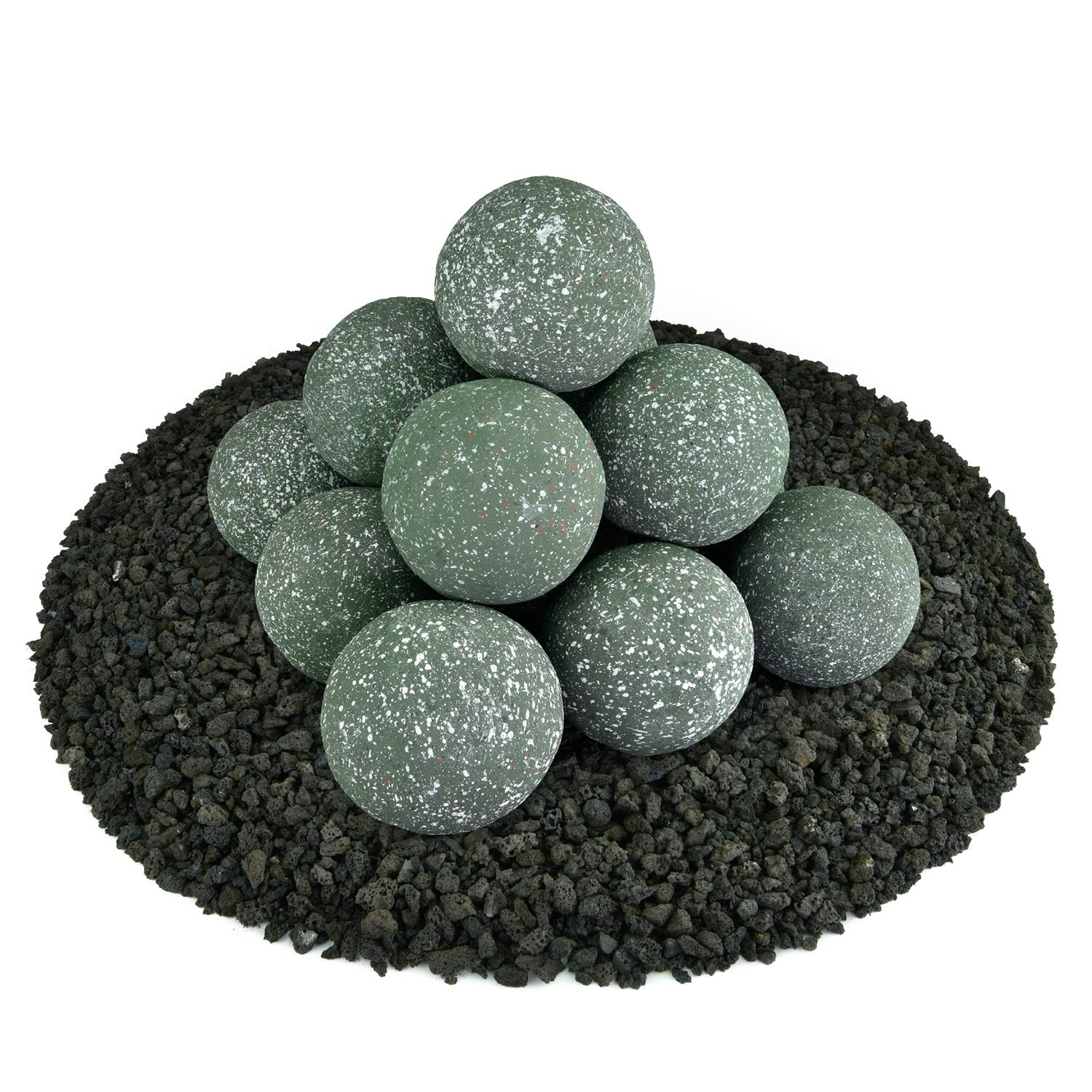Ceramic Fire Balls | Set of 14 | Modern Accessory for Indoor and Outdoor Fire Pits or Fireplaces – Brushed Concrete Look | Slate Green, Speckled, 4 Inch