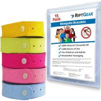 RiptGear Mosquito Bracelet (15 Pack) for Children and Adults - Better Than Lotion or Spray Wipes - Travel Bracelets for Mosquitoes - Natural and Without deet