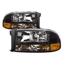HEADLIGHTSDEPOT Black Housing Halogen Headlights Compatible with Dodge Dakota Durango Includes Left Driver and Right Passenger Side Headlamps