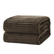SE SOFTEXLY Striped Fleece Blankets, Soft Warmer Throw Blankets for All Season, Lightweight Microfiber Flannel Blanket Suit for Home Bed, Sofa & Dorm (Brown, 50×60)