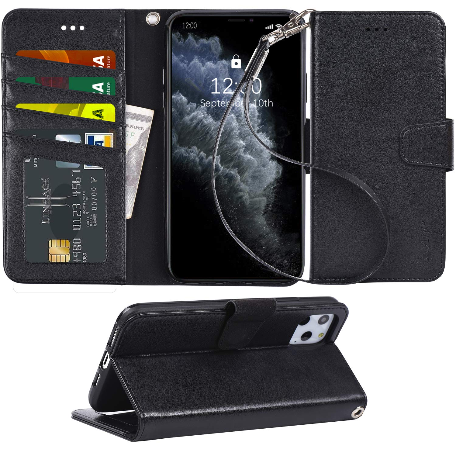 Arae Case for iPhone 11 Pro Max PU Leather Wallet Case Cover [Stand Feature] with Wrist Strap and [4-Slots] ID&Credit Cards Pocket for iPhone 11 Pro Max 6.5 inch 2019 Released - Black