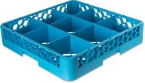 "Carlisle RG914 OptiClean 9-Compartment Glass Rack, Polypropylene, 20.88"" Length, 20.88"" Width, 4.00"" Height, Blue"