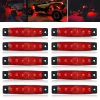 """NBWDY 10 Pcs 3.8"""" Sealed Red LED Marker/Rock/Wheel/Underglow Light Kits for Jeep,Snowmobile,Truck,Golf Cart,Lorry,RV,Camper, Cab,RV,SUV, HGV,Offroad"""