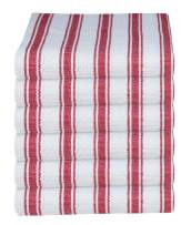 GLAMBURG 100% Cotton Kitchen Towels and Dish Cloth Sets, 6 Pack 18x28 Basket Weave Stripe Dish Towels, Tea Towels, Bar Towels, Cleaning Towels, Highly Absorbent Dishcloth, Kitchen Towel Set - Red