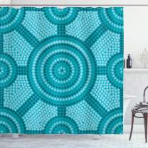"Ambesonne Teal Shower Curtain, Abstract Aboriginal Dot Painting Native Primitive Cultural Art in Australia, Cloth Fabric Bathroom Decor Set with Hooks, 84"" Long Extra, Teal"