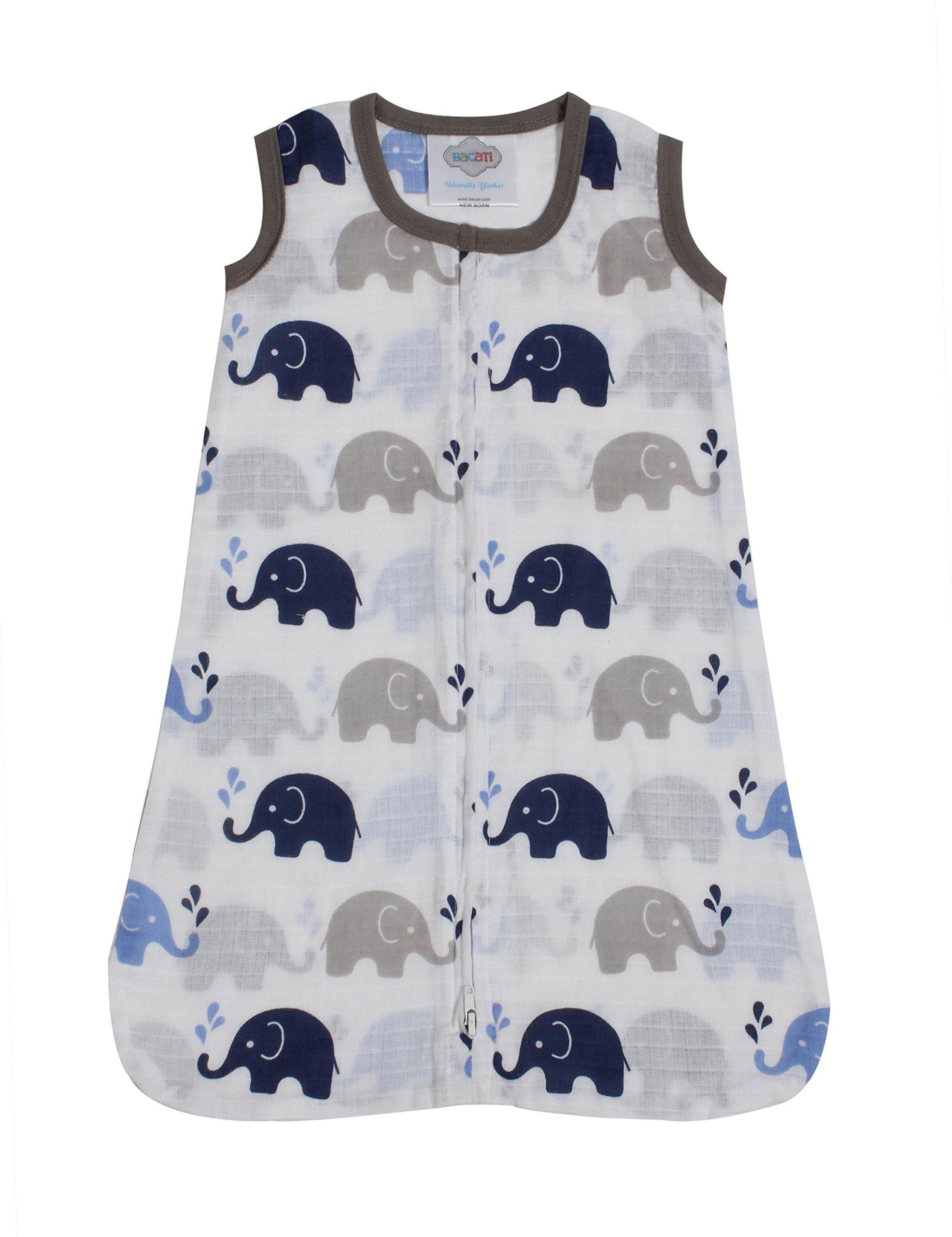 Bacati - Muslin Printed Sleeping Bag (Wearable Blankets) (Newborn, Elephants Blue/Grey)