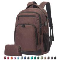 Travel Laptop Business Backpack, Anti Theft Water Resistant College School Computer Bagpack, Gifts for Men & Women Fits 15.6 Inch Notebook with USB Charging Port Bonus a Small pencil Case, Brown