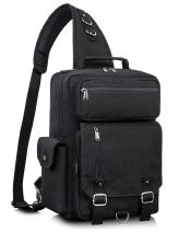 Leaper Messenger Bag Water-Resistant Sling Bag Outdoor Cross Body Bag Black