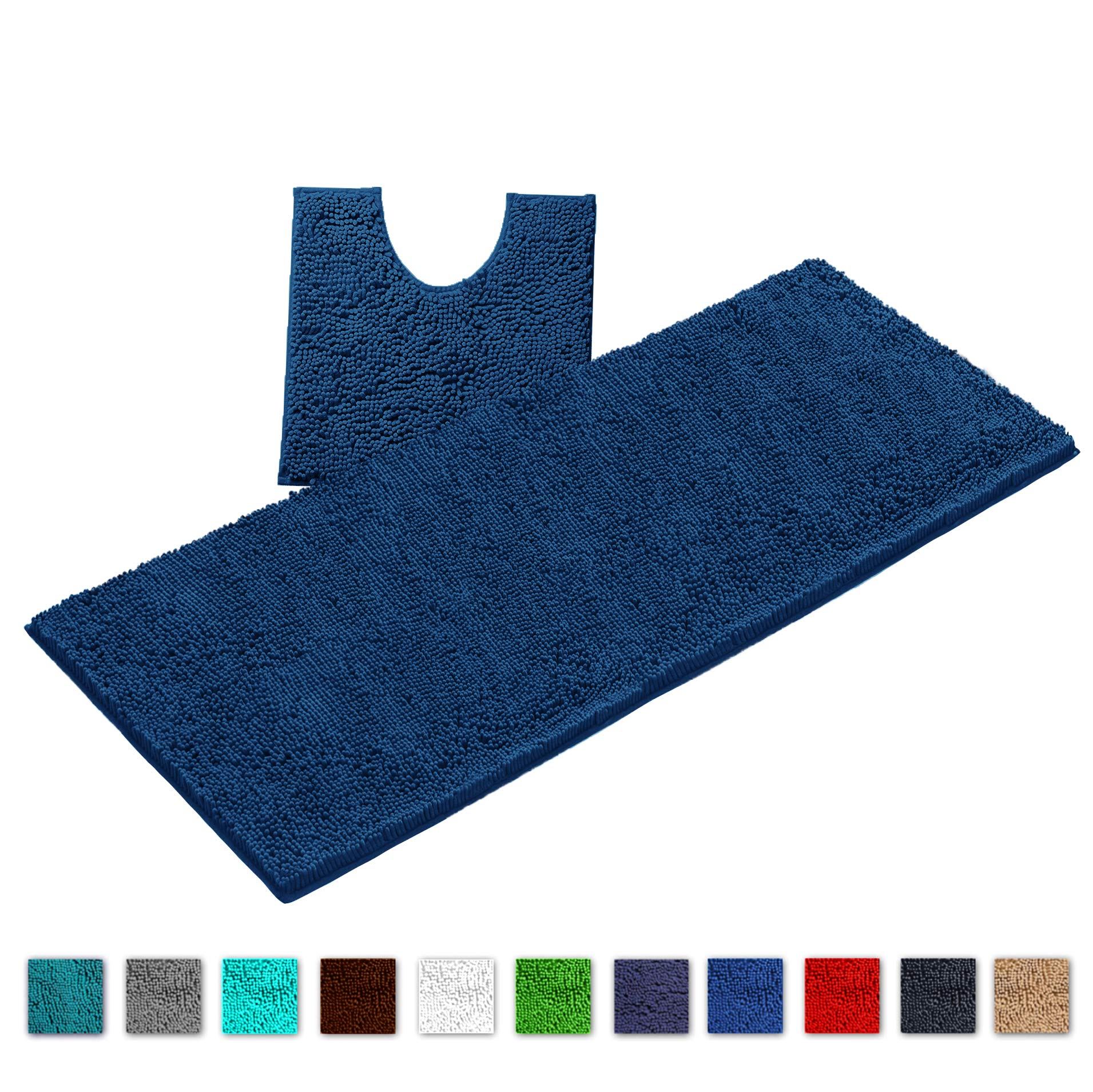 LuxUrux Bathroom Rugs Luxury Chenille 2-Piece Bath Mat Set, Soft Anti-Slip Bath Rug +Toilet Mat.1'' Microfiber Shaggy Carpet, Super Absorbent Machine Washable Bath Mats (Curved Set X-Large, Blue)