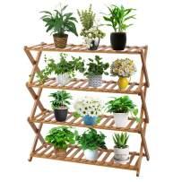 Sonyabecca 4 Tier Plant Stand Shelf Folding Bamboo Shoe Rack Flower Pots Display Stand Shelves Storage Organizer for Garden Patio Indoor/Outdoor