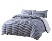 Levi 2-Piece Striped Heather Jersey Knit Cotton Duvet Cover Set - Solid Reversible Ultra Soft and Breathable - Comforter Cover with Button Closure and 1 Pillowcase (Twin, Navy/Gray)