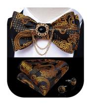 DiBanGu Paisley Floral Bow Tie Set with Lapel Pin Formal Wove Self Bow Tie Pocket Square Cufflinks Set