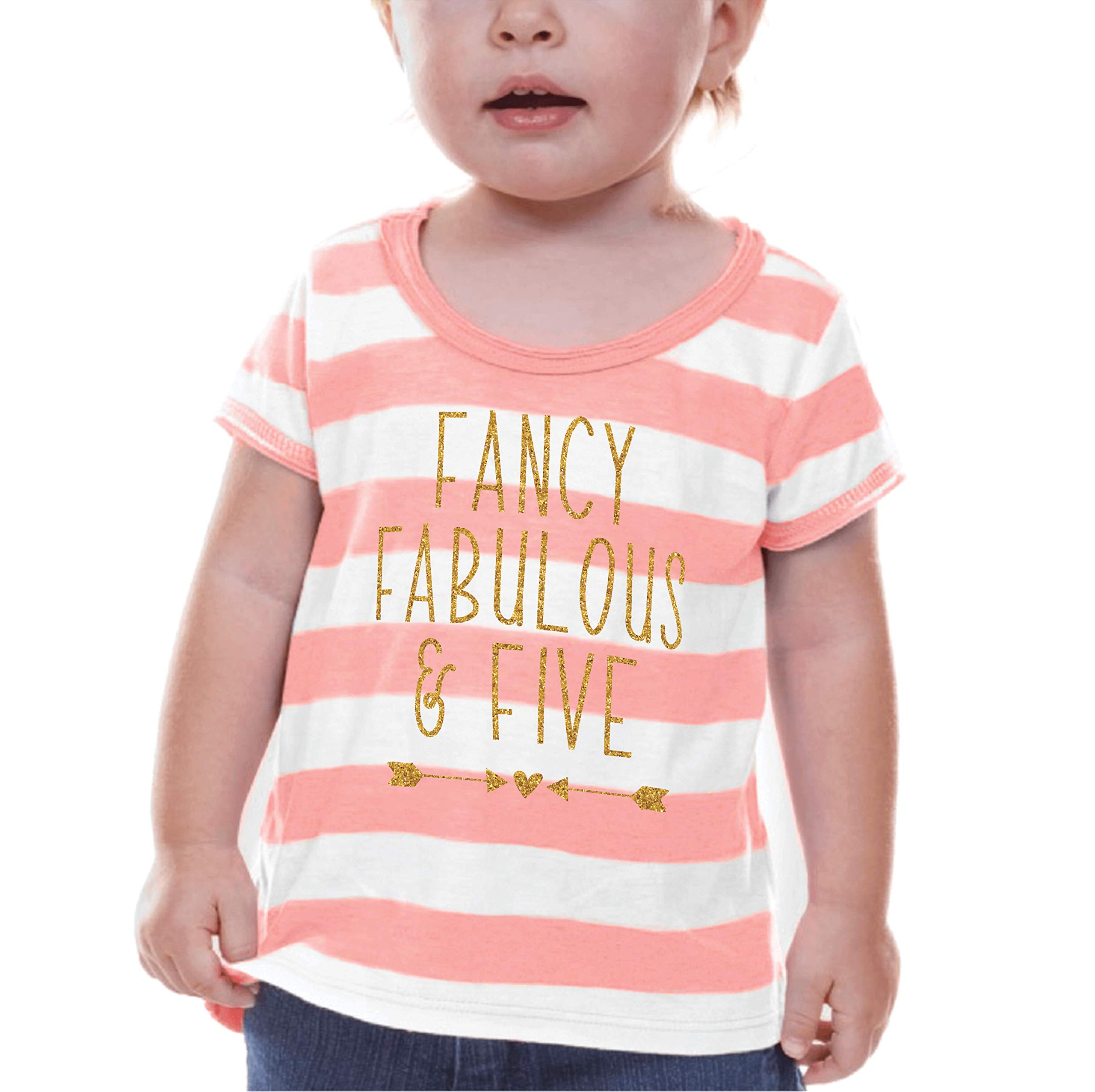 Bump and Beyond Designs Fifth Birthday Shirt Girl Fifth Birthday Outfit (6T)